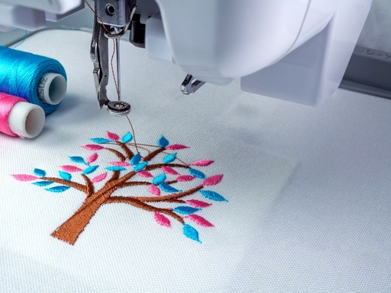 embroidered colorful tree